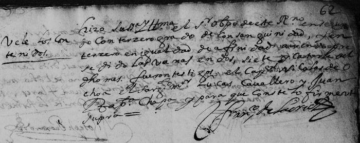 Gabriel de la Garza and Clara de la Garza, FamilySearch Nuevo Leon, Catedral, Marriage1675 Pg. 17 Part 2