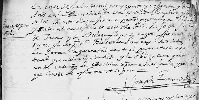 Juan Tamez Baptism FamilySearch 1683 Monterrey Pg. 93