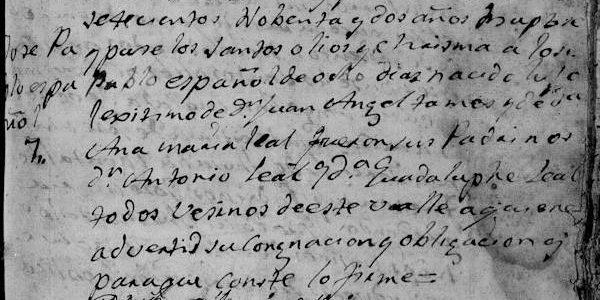 1792 baptism of Jose Pablo Tamez in Santiago, Nuevo Leon, Mexico