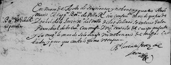 1694 Church Death Record of Bernabe Villarreal in Monterrey, Nuevo Leon, Mexico