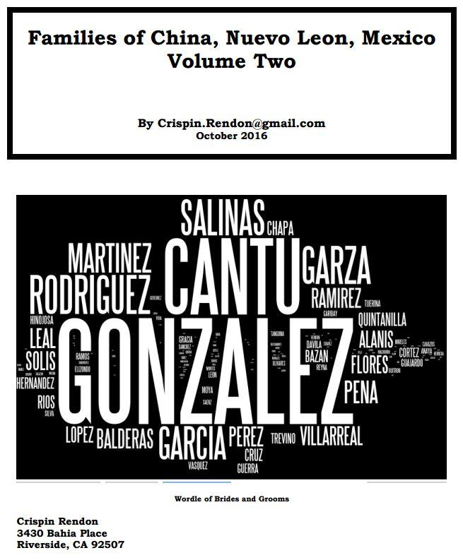 Families of China, Nuevo Leon, Mexico Volume Two