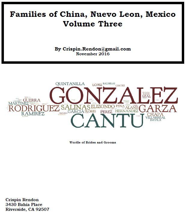 Families of China, Nuevo Leon, Mexico Volume Three