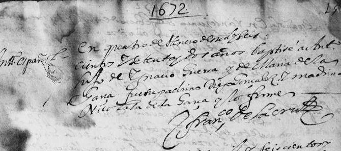 1672 Baptism of Antonio Guerra in Monterrey, Nevo Leon, Mexico