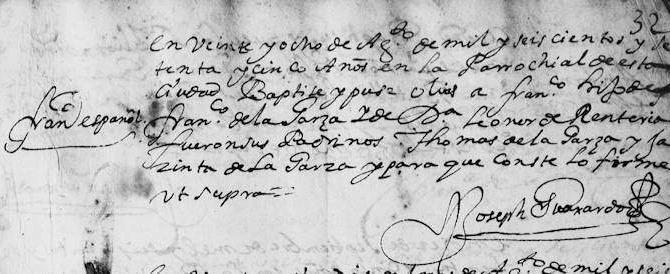 1675 Baptism of Francisco Narciso de la Garza in Monterrey, Nuevo Leon, Mexico