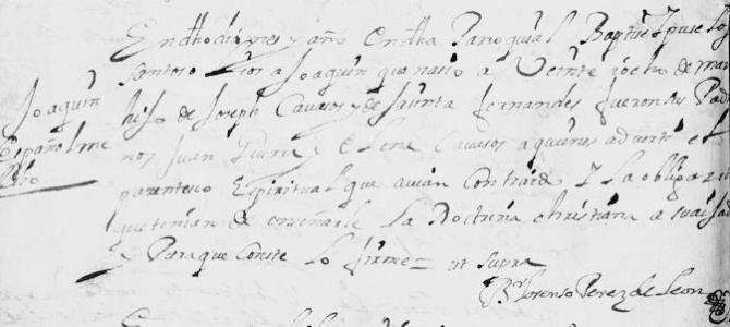 The 1696 Baptism of Joaquin Cavazos in Monterrey, Nuevo Leon, Mexico