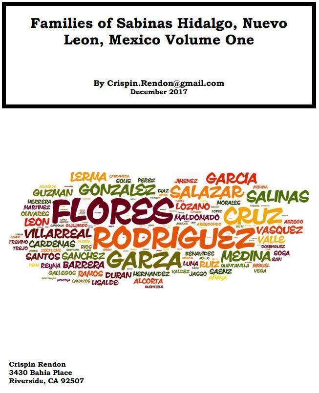 Families of Sabinas Hidalgo, Nuevo Leon, Mexico Volume One