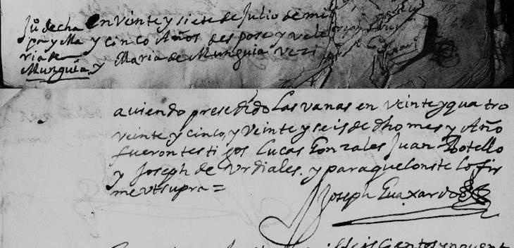 """""""México, Nuevo León, registros parroquiales, 1667-1981,"""" database with images, FamilySearch (https://familysearch.org/ark:/61903/3:1:9Q97-YS24-TD?cc=1473204&wc=3PML-VZS%3A45389701%2C45389702%2C46695301 : 21 May 2014), Monterrey > Catedral > Matrimonios 1667-1800 > image 53 of 732; Parroquias de la Iglesia Católica, Nuevo León (Catholic Church parishes, Nuevo León)."""