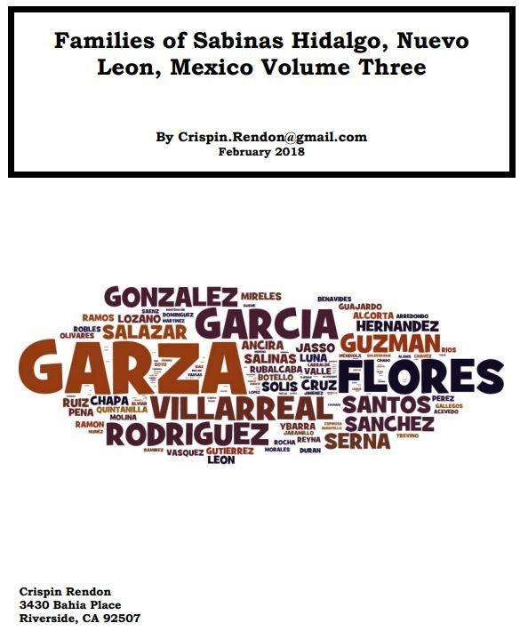 Families of Sabinas Hidalgo, Nuevo Leon, Mexico Volume Three