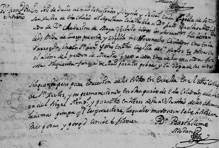 1726 Death Record of Francisco Baez de Treviño in Monterrey, Nuevo Leon, Mexico