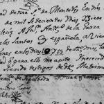 1717 Marriage of Juan Antonio de la Garza and Juana Francisca de los Santos Coy in Monterrey, Nuevo Leon, Mexico