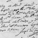 1719 Baptism of Joseph Cayetano de la Garza in Monterrey, Nuevo Leon, Mexico
