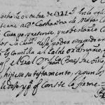 1725 Death Record of Catharina de Maya in Monterrey, Nuevo Leon, Mexico