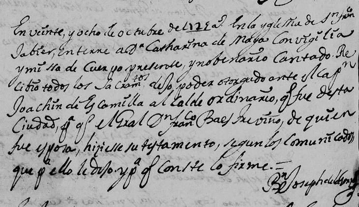1725 Death Record of Catharina de Maya in Monterrey, Nuevo Leon, Mexico