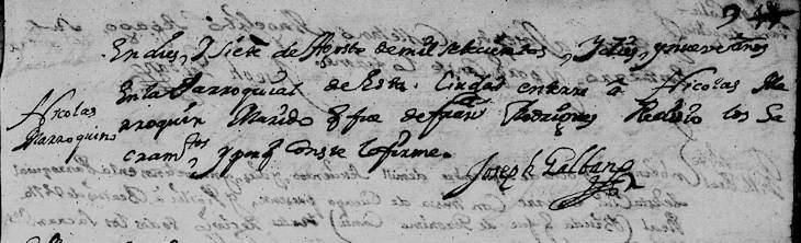 1719 Death Record of Nicolas Marroquin in Monterrey, Nuevo Leon, Mexico