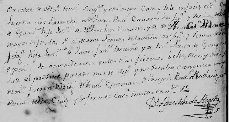1752 Marriage of Jose Antonio Cavazos and Maria Leonor de Treviño in Monterrey, Nuevo Leon, Mexico