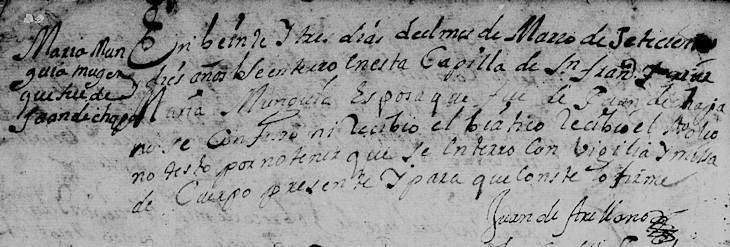 1710 Death Record of Maria Munguia in Monterrey, Nuevo Leon, Mexico