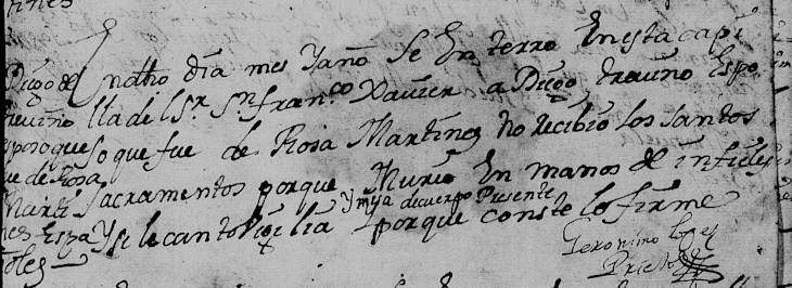 1712 Death Record of Diego de Trevino in Monterrey, Nuevo Leon, Mexico