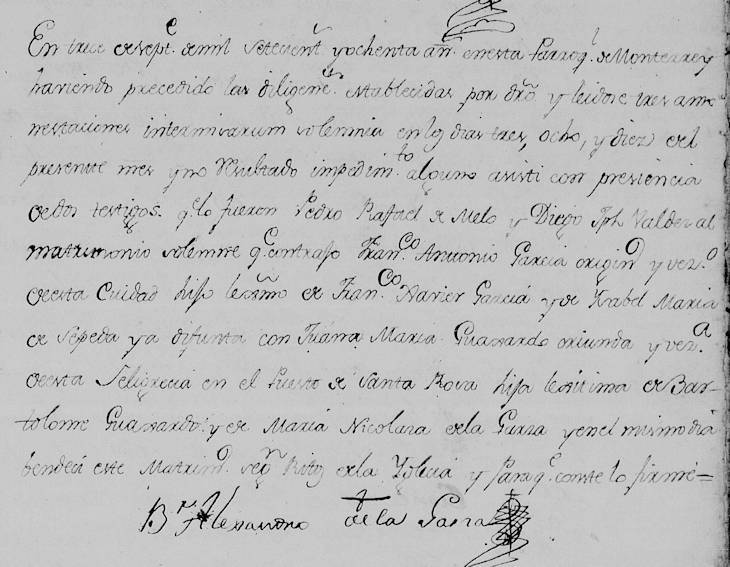 1780 Marriage of Franciso Javier Garcia and Juana Maria Guajardo in Monterrey, Nuevo Leon, Mexico
