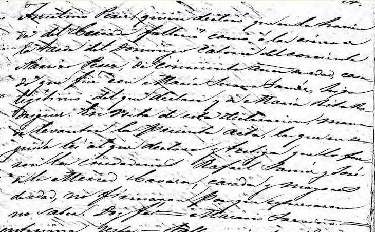 1862 Death Record of Jose Narciso Perez