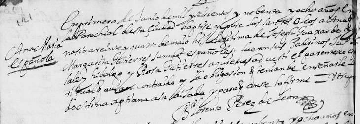 1698 Baptism of Ana Maria Guajardo in Monterrey, Nuevo Leon, Mexico