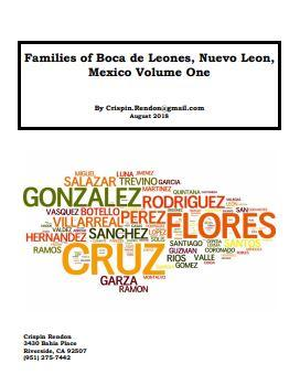 Families of Boca de Leones, Nuevo Leon, Mexico Volume One