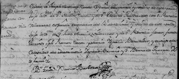 1771 Marriage of Joseph Santiago Cantu and Maria Rosalia de Villarreal