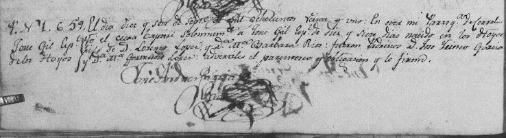 1821 Baptism of Jose Gil Lopez Rios
