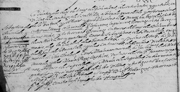 1704 Marriage of Sebastian Ansaldua and Mariana Sauceda