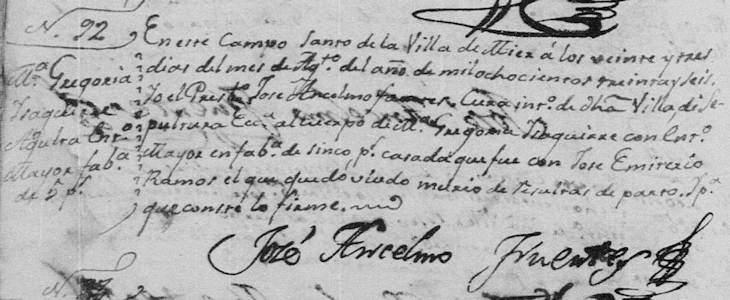 1836 Death of Maria Gregoria Isaguirre