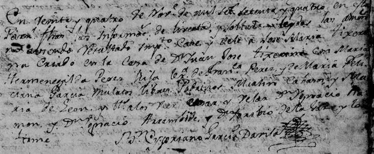 1774 Marriage of Jose Maria Tijerina and Hermenegilda Perez