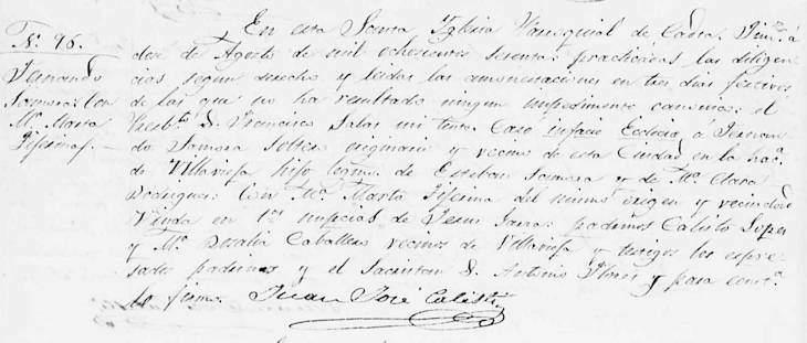 1860 Marriage of Fernando Zamora and Maria Marta Tijerina