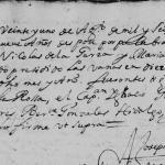 1679 Marriage of Nicolas de la Garza and Maria de Trevino