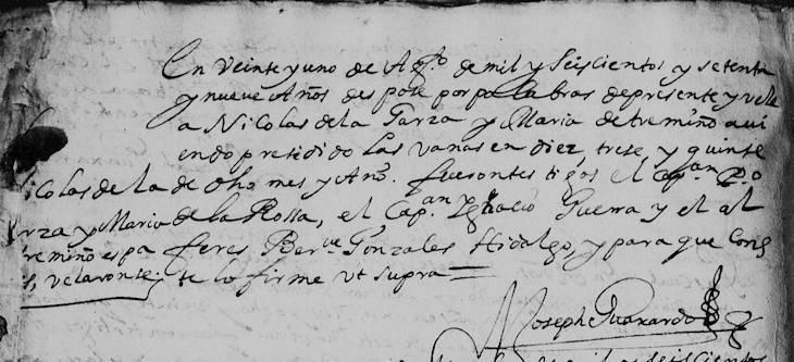1679 Marriage of Nicolas de la Garza and Maria de Trevino