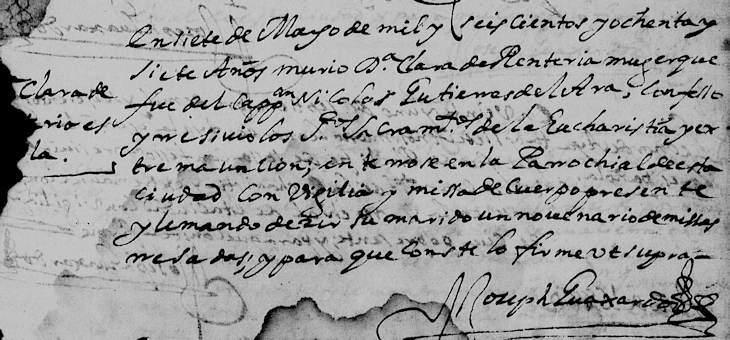 1687 Death Record of Clara de Trevino Renteria