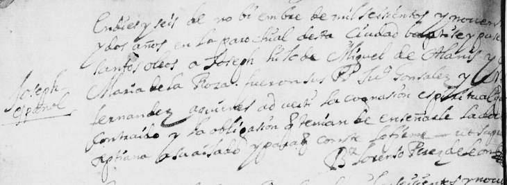 1692 Baptism of Joseph de Alanis