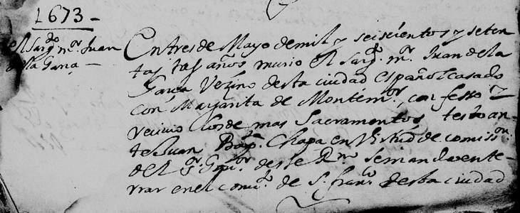 1673 Death Record of Juan de la Garza