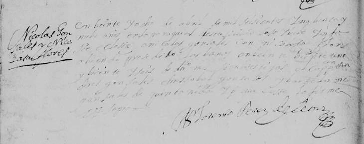 1699 Marriage of Nicolas Gonzalez Ochoa and Nicolasa Flores