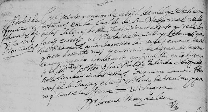 1700 Marriage of Nicolas de Trevino and Thomasa de Villarreal