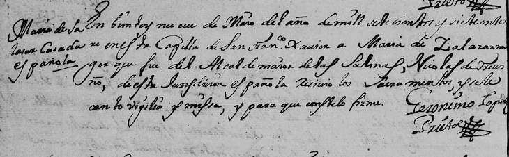 1707 Death Record of Maria de Salazar