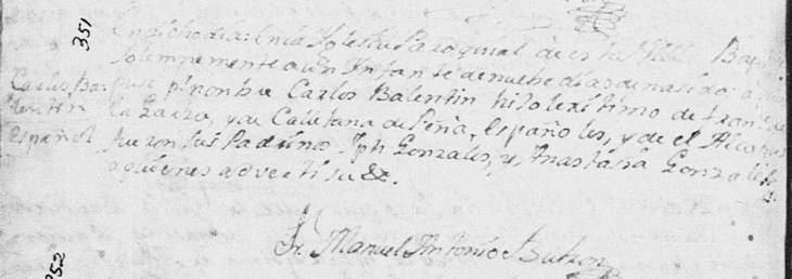 1777 Baptism Record of Jose Carlos Valentin de la Garza