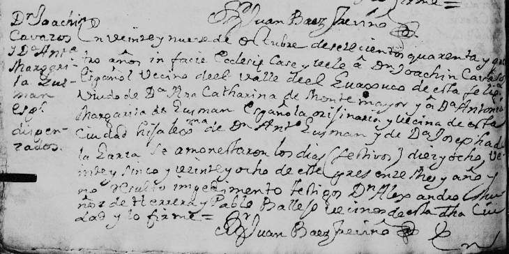 1744 Marriage of Joaquin Cavazos and Antonia Margarita Guzman