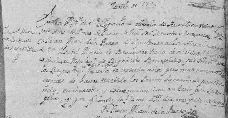 1773 Death Record of Isabel Maria de Benavides