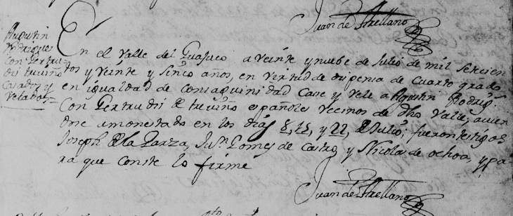 1725 Marriage of Agustin Rodriguez and Maria Gertrudis de Trevino