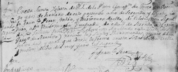 1769 Death Record of Ana Maria Guajardo