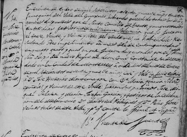 1799 Marriage of Jose Antonio Montemayor and Maria Ignacia Silva