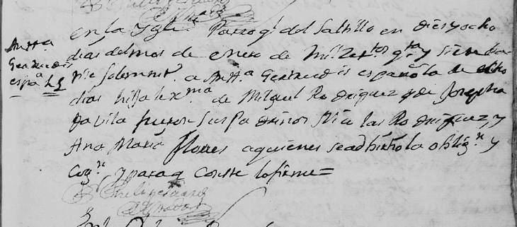 1747 Baptism Record of Maria Antonia Gertrudis Rodriguez