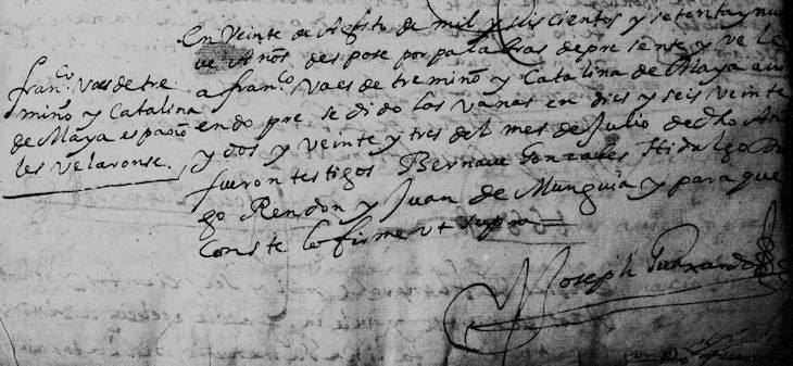 1679 Marriage of Francisco Baez de Trevino and Catalina de Maya