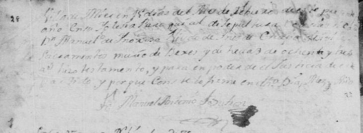 1778 Death Record of Jose Manuel Hinojosa