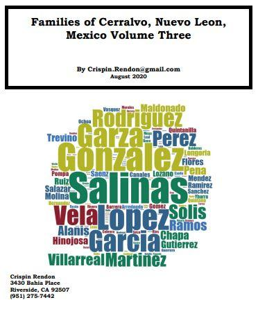 Families of Cerralvo, Nuevo Leon, Mexico Volume Three