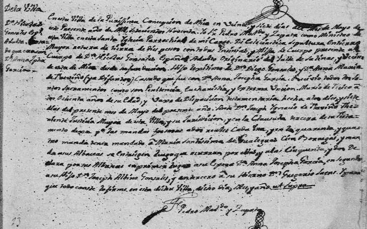 1790 Death Record of Jose Nicolas Gonzalez